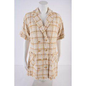 Zara Womens Short Blazer Dress M Frayed Trim